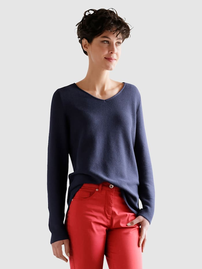 Dress In Pullover mit V-Ausschnitt, Marineblau