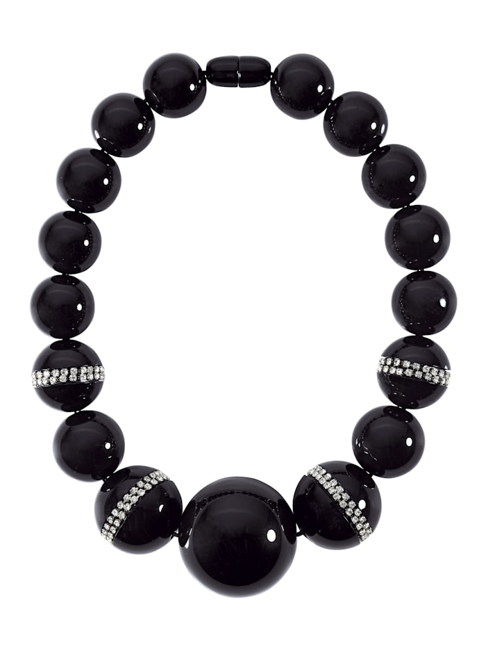 STILOMIO Halskette mit unterschiedlich großen Perlen, Schwarz