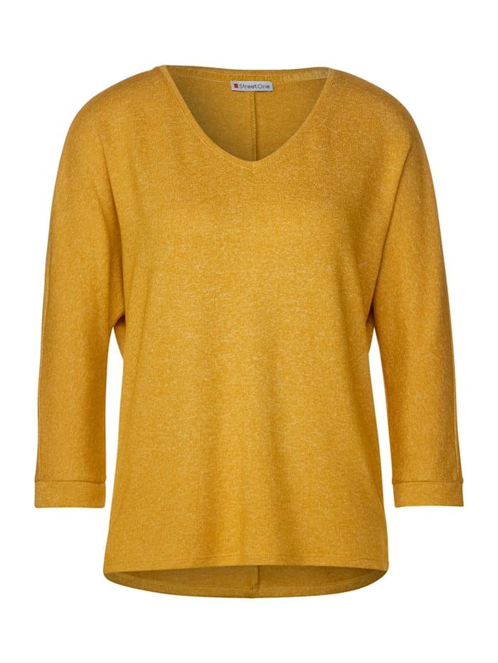 Street One Shirt in Melange-Optik, amber yellow melange