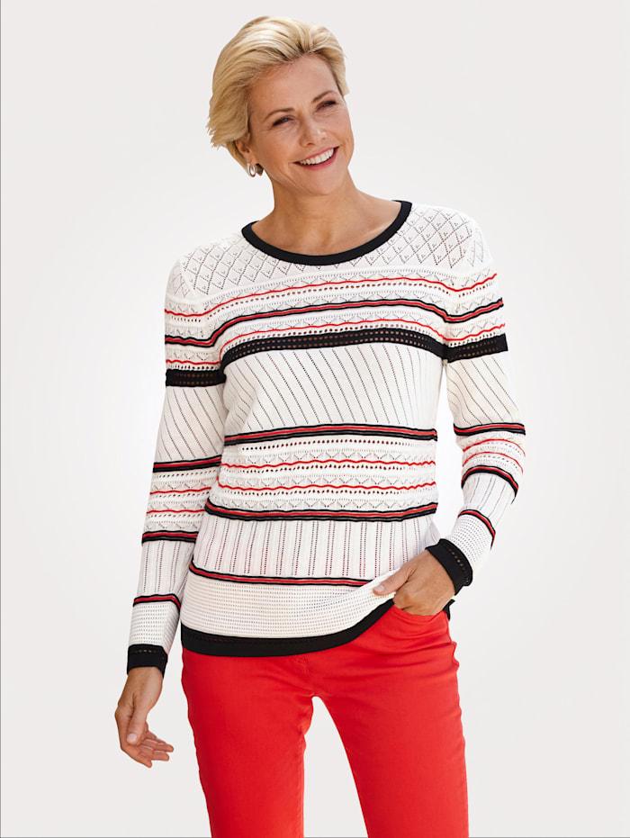 MONA Pullover in effektvoller Ringel-Optik, Weiß/Schwarz/Rot