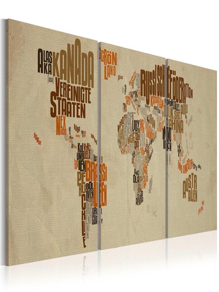 artgeist Wandbild Landkarte der Abenteuer, Beige,Braun,Grau,Orange
