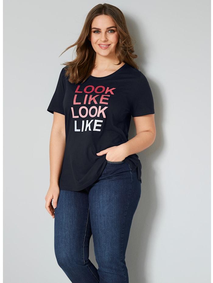 Janet & Joyce Shirt mit modischem Druck, marineblau