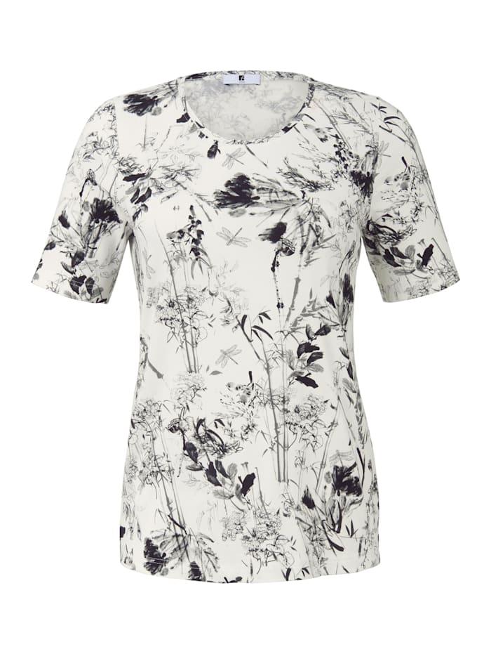 Anna Aura Shirt mit Blumenmuster mit Rispen ., weiß/schwa