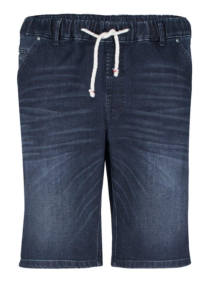 Jeansbermuda met elastische band rondom