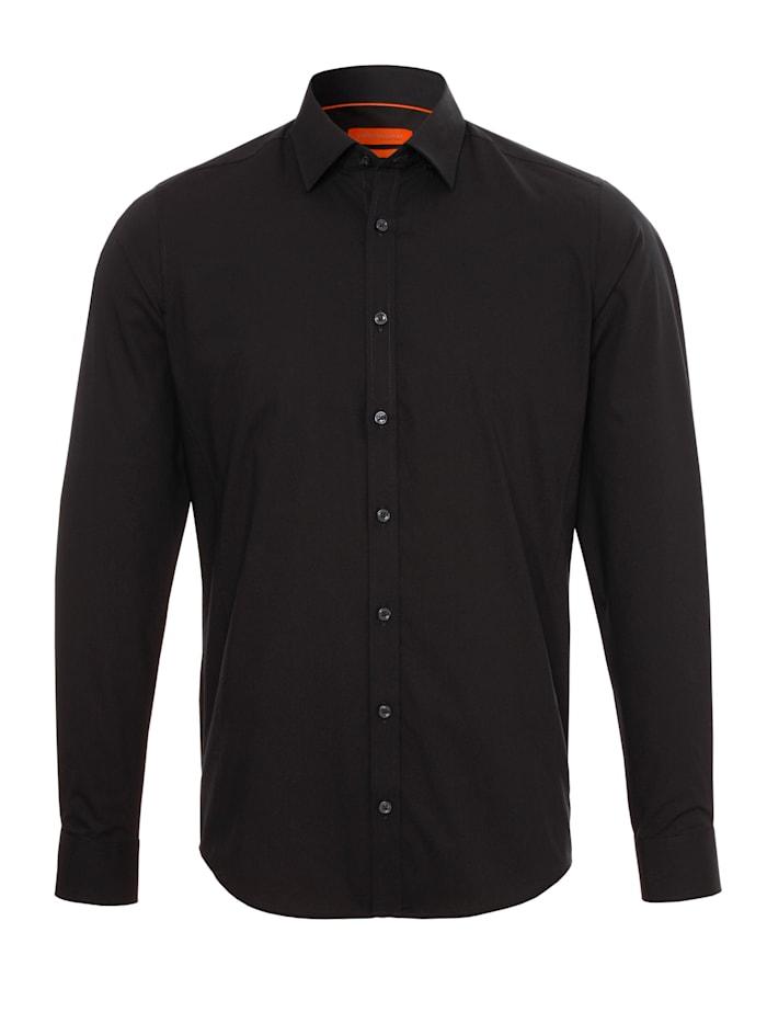 Jupiter Modernes Stretch-Hemd Langarm, schwarz