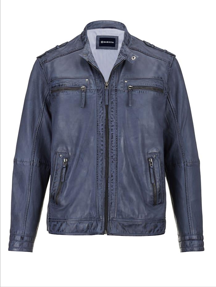 BABISTA Leren jas in modieuze used look, Blauw