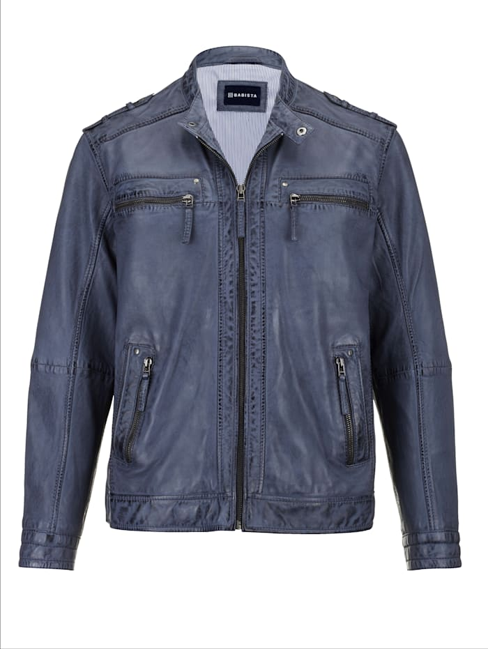 BABISTA Veste en cuir d'aspect usé tendance, Bleu