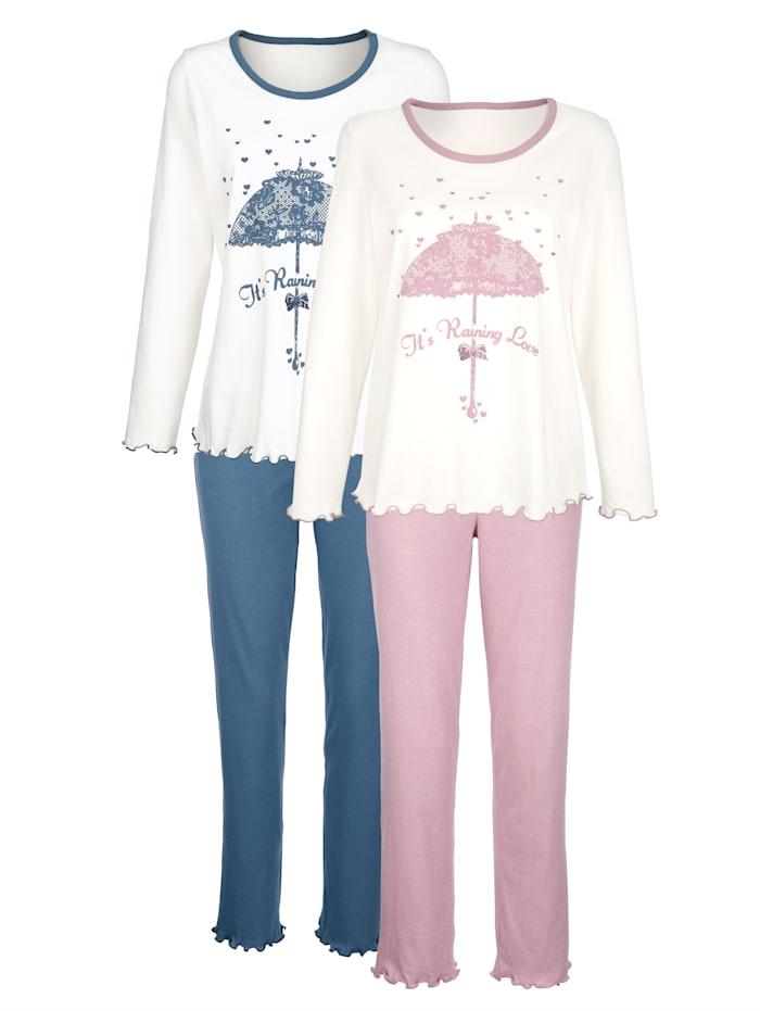Harmony Pyjamas à motif devant, Vieux rose/Bleu fumée/Blanc