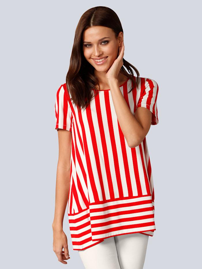 Alba Moda Shirt in Streifenoptik, Rot/Weiß