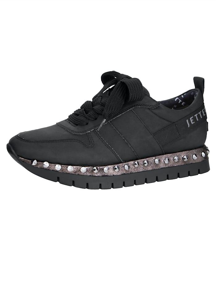 Jette Sneaker met klinknageltjes bezette zool, Zwart