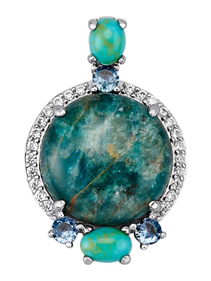 Hanger met gekleurde steentjes, Turquoise