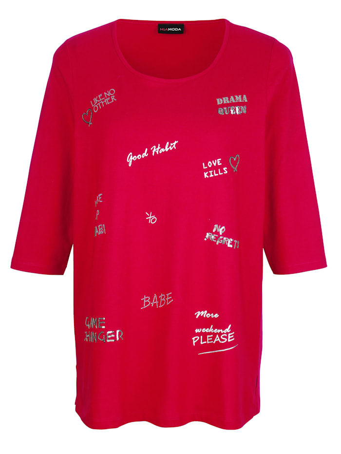 Shirt met decoratieve opschriften voor