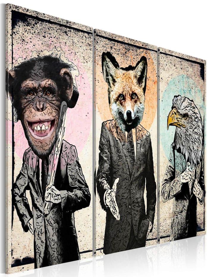 artgeist Wandbild Monkey business, Grau,rosa
