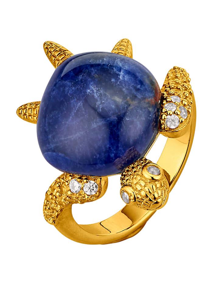 Schildkröten-Ring mit Sodalith, Blau