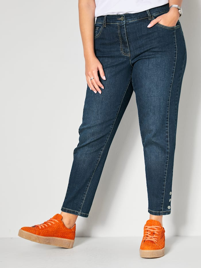 Janet & Joyce Jeans met knopen opzij, Blue stone