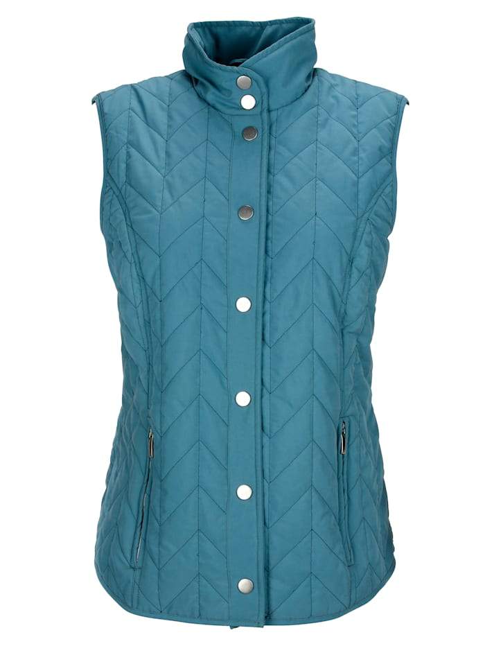 Quilted gilet with chevron quilting
