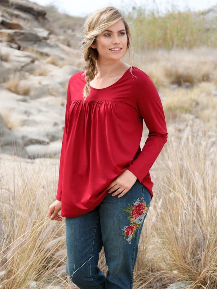 Sara Lindholm Shirt mit Raffung, Rot