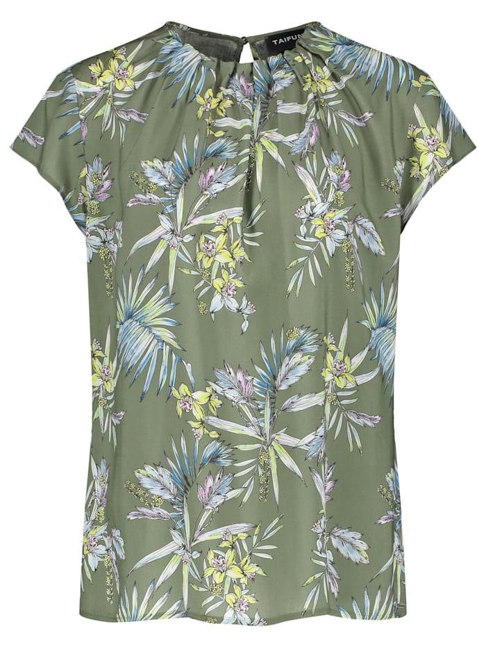 Taifun Blusenshirt mit Floral-Print, Botanical Green gemustert