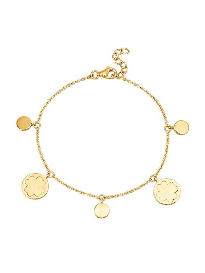 Amara Or Bracelet Trèfle en or jaune 585, Coloris or jaune