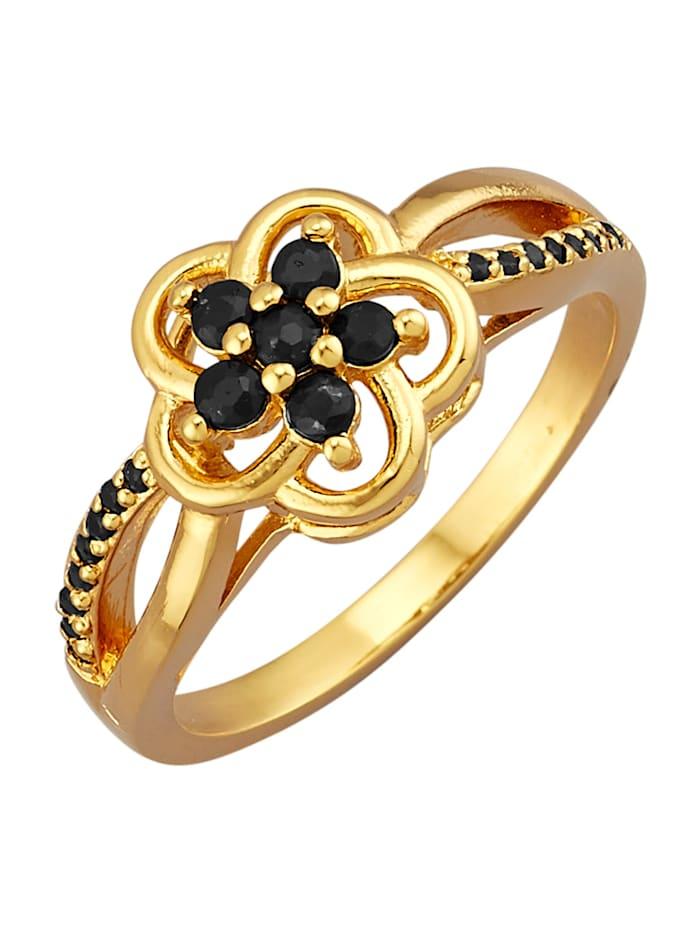 Blumen-Ring mit Saphiren, Schwarz