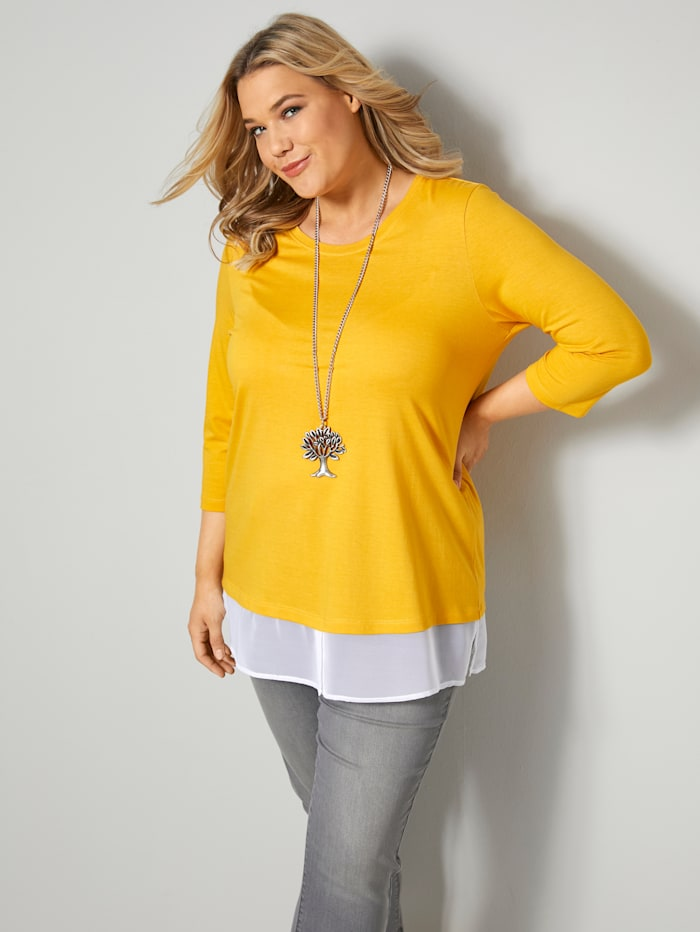 Janet & Joyce Shirt mit 2-in-1 Effekt, Gelb/Weiß