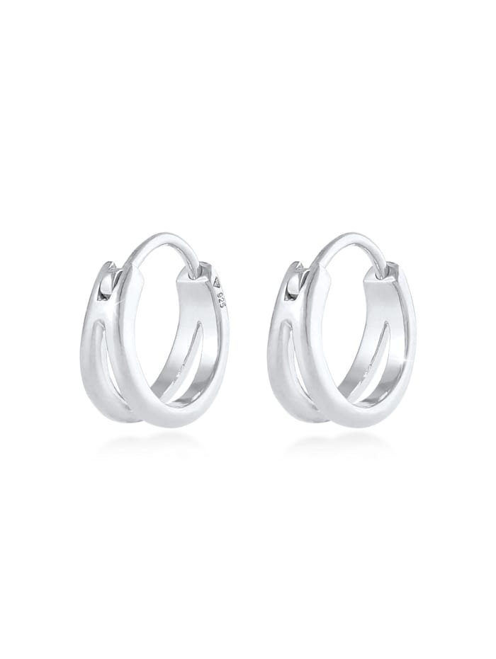 Elli Ohrringe Huggie Hoops Basic Zeitlos Dezent 925 Silber, Silber