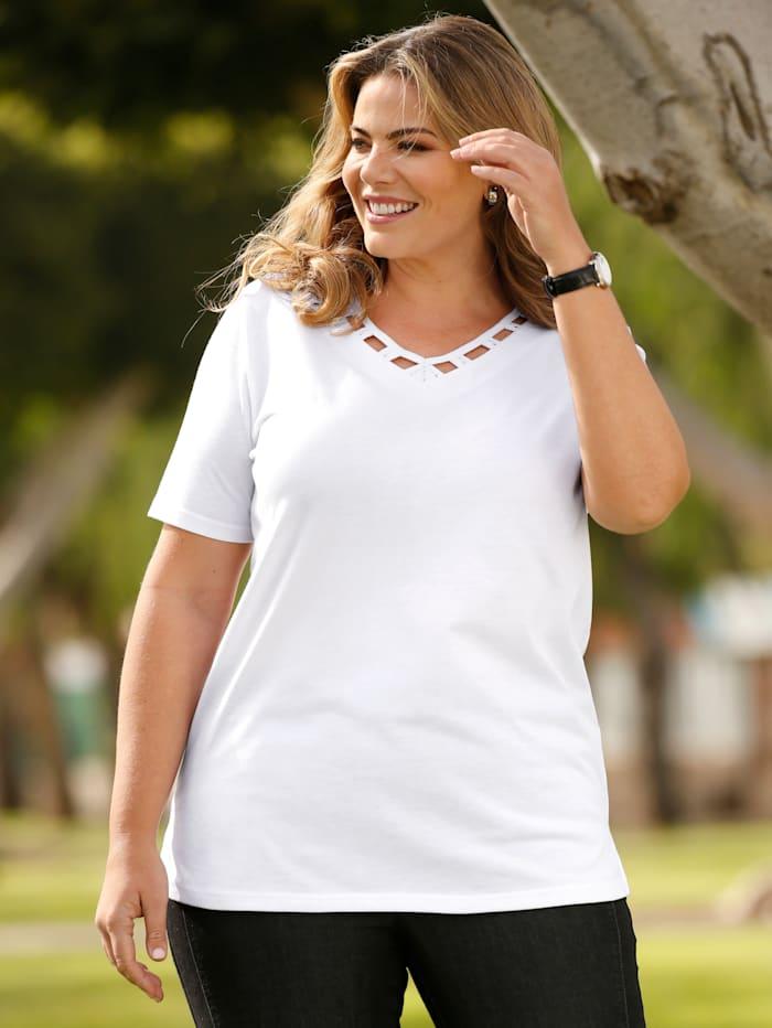 m. collection Shirt mit Dekosteinchen verzierte Aussparungen am Ausschnitt, Weiß