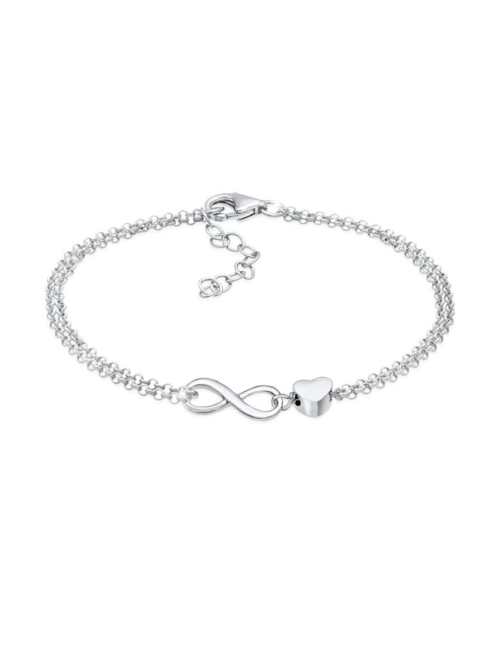 Elli Armband Herz Liebe Unendlichkeit Infinity 925 Silber, Silber