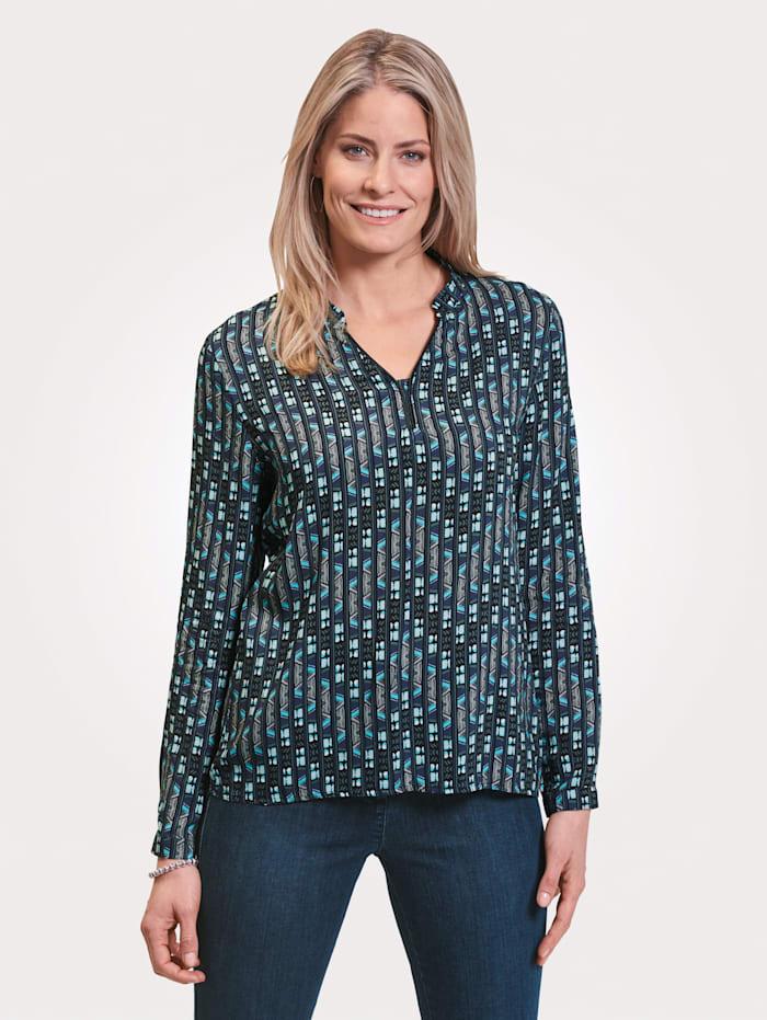 MONA Schlupfbluse mit grafischem Muster, Marineblau/Schwarz