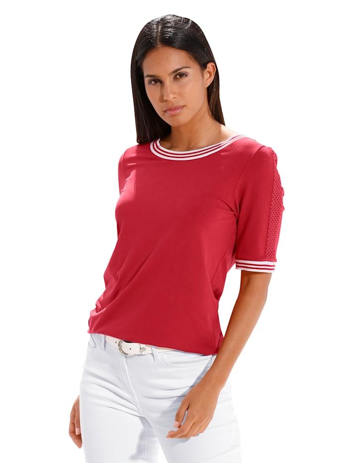 AMY VERMONT Shirt met gebreide boordjes, Rood