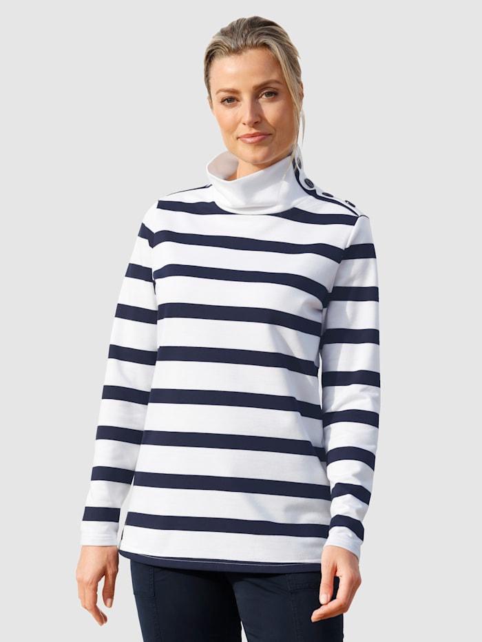 basically you Randig sweatshirt med knappar, Vit/Marinblå