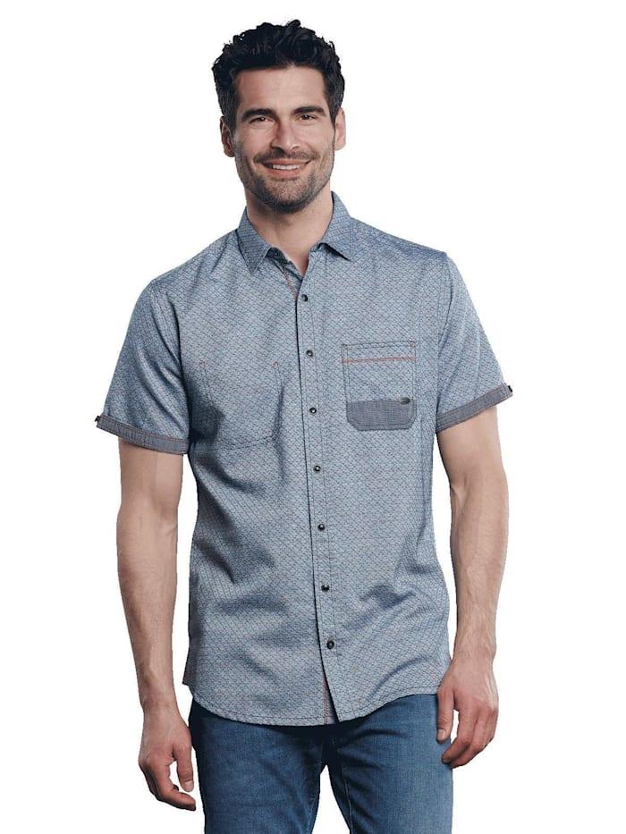 Engbers Kurzarm-Hemd strukturiert, Cyanblau