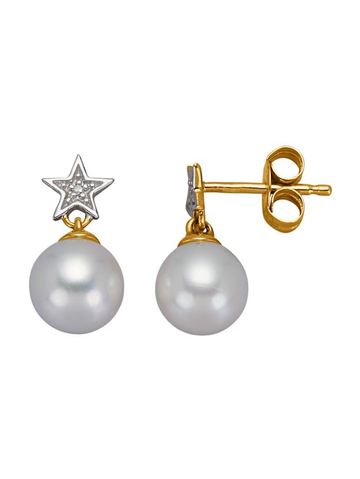 Boucles d'oreilles Étoiles avec perles de culture d'eau douce, Blanc