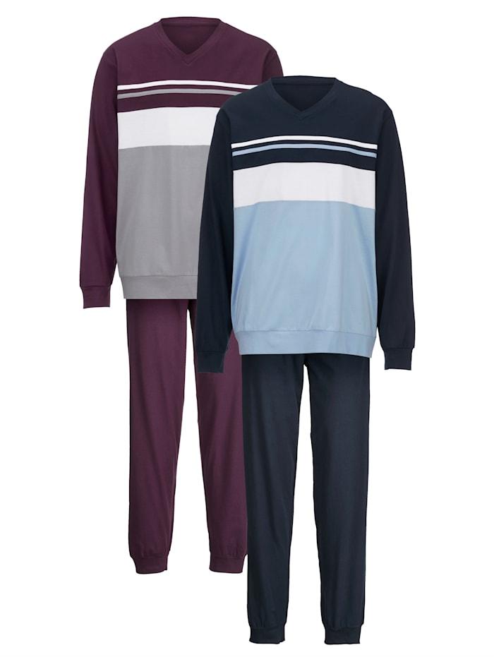 Pyjama 2 stuks, 1x aubergine, 1x marine