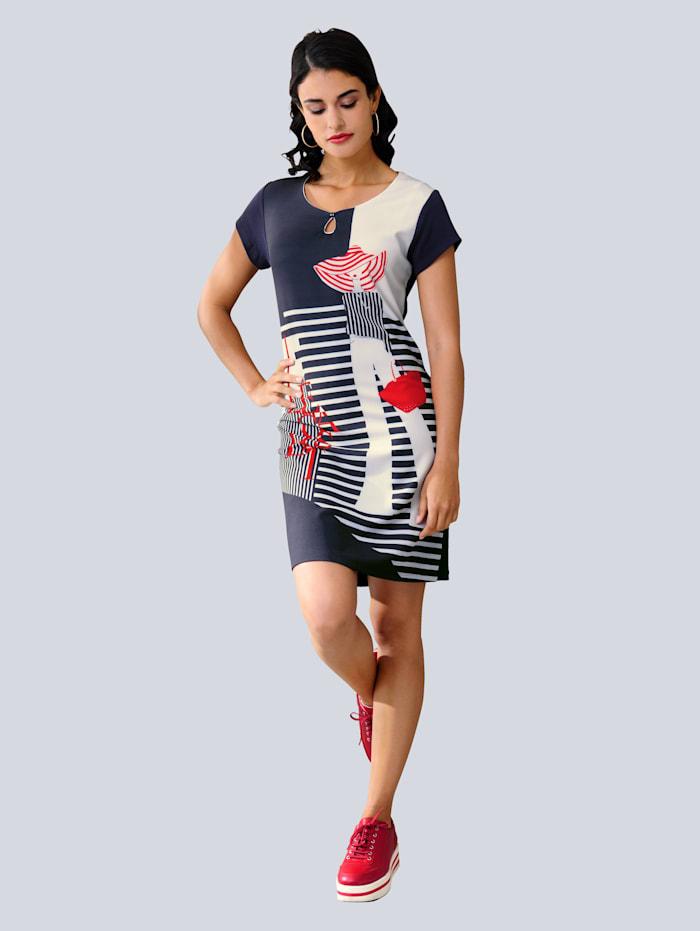 Alba Moda Kleid in trageangenehmer elastischer Jerseyqualität, Marineblau/Rot