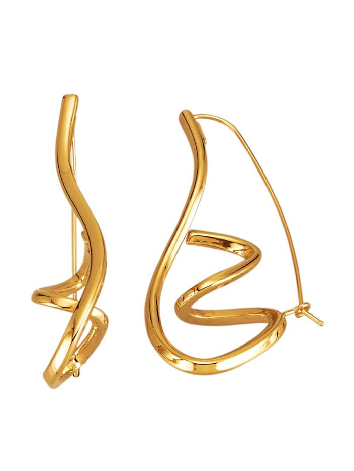 Örhängen i krumelurig design, Guldfärgad