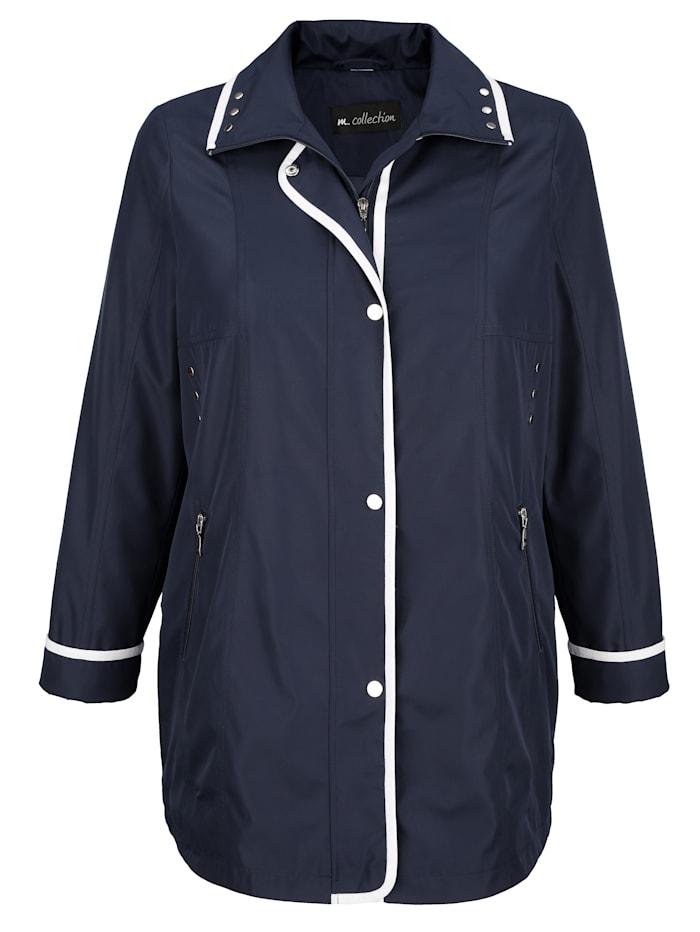 m. collection Jacke mit kontrastfarbiger Paspelverarbeitung, Marineblau/Weiß