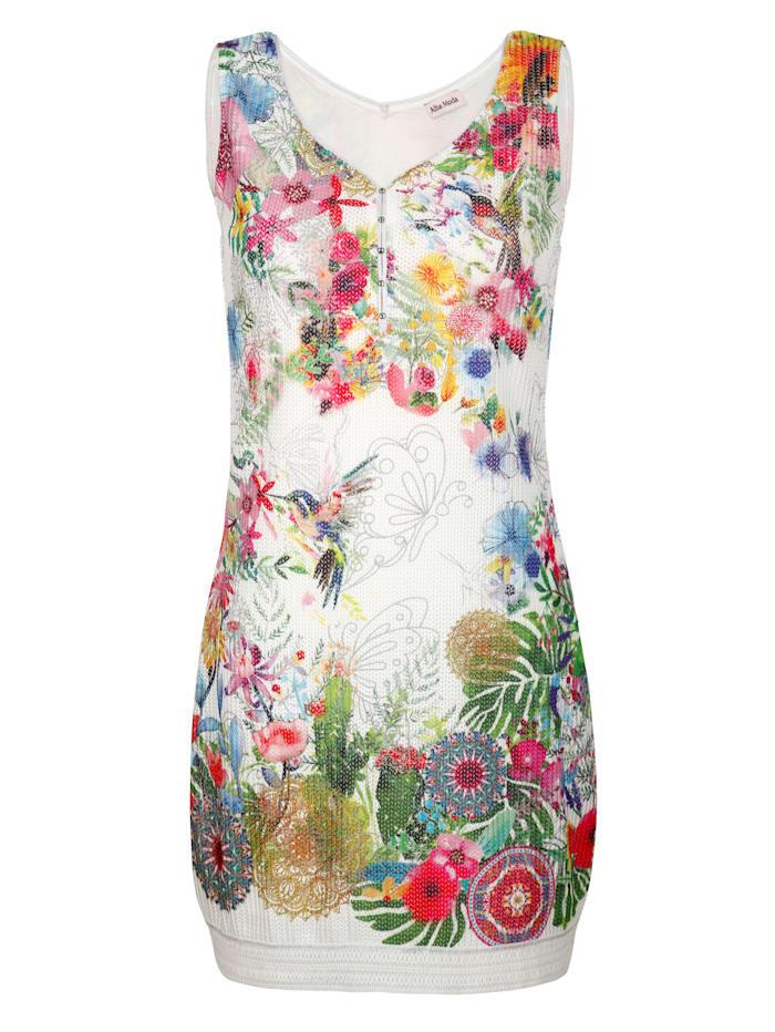 Jersey jurk met bloemendessin rondom