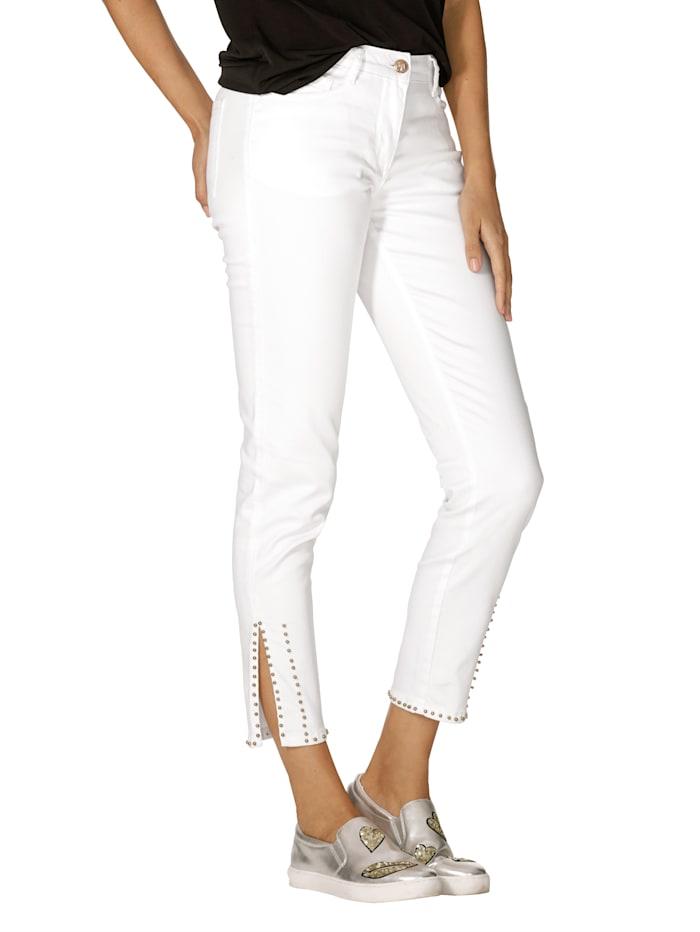 AMY VERMONT Jeans mit Perlendekoration am Saum, Weiß