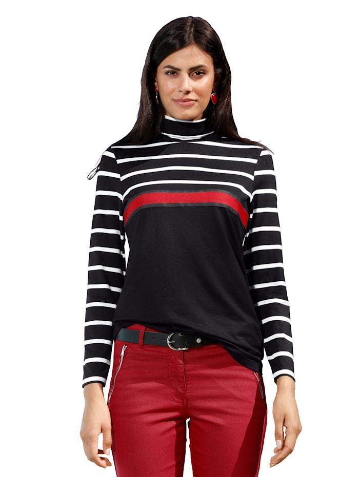 AMY VERMONT Colshirt met opgestikte sierband, Zwart/Rood/Wit