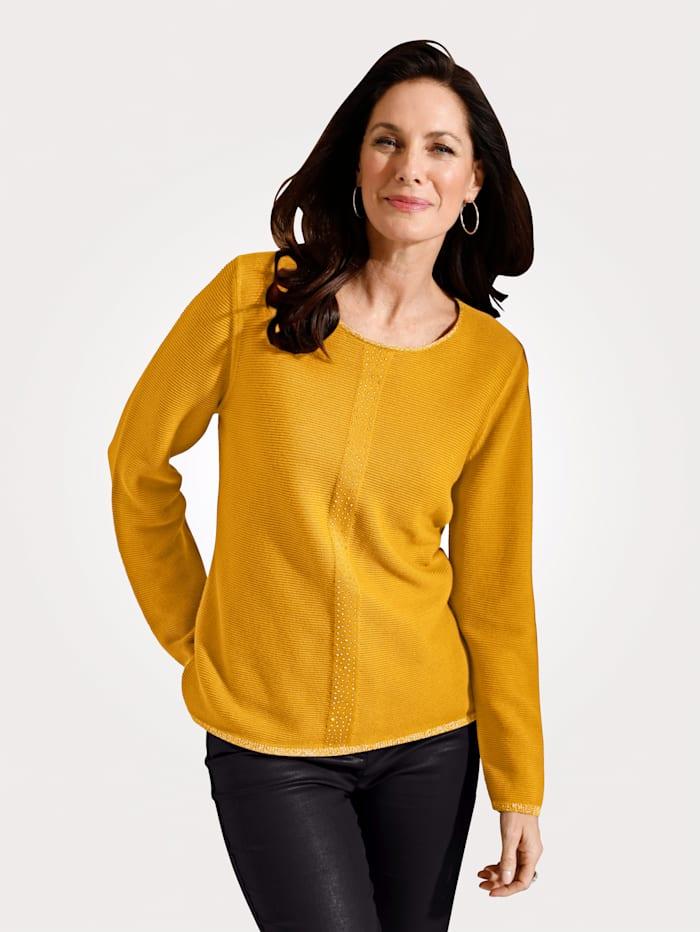MONA Pullover mit Rippen-Struktur, Maisgelb