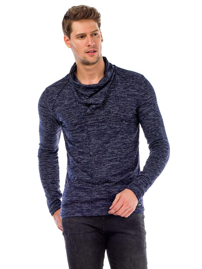 Cipo & Baxx Pullover mit Schalkragen, Navyblue
