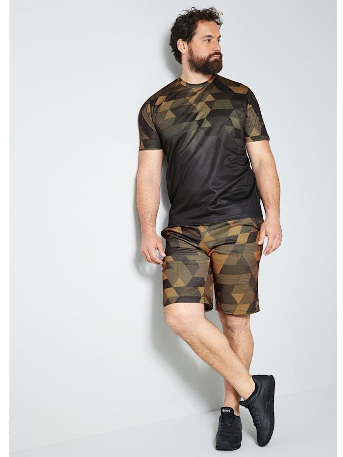 Men Plus T-Shirt schnelltrocknend, Schwarz/Neonorange
