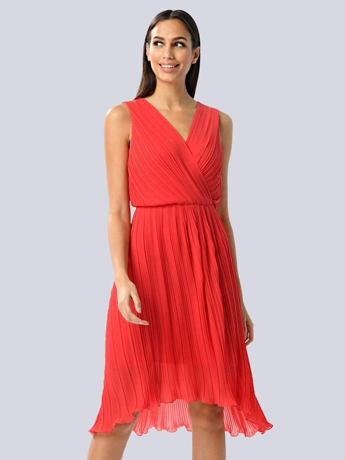 Alba Moda Kleid allover plissiert, Rot