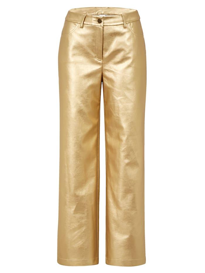 REKEN MAAR Kunstlederhose, Goldfarben