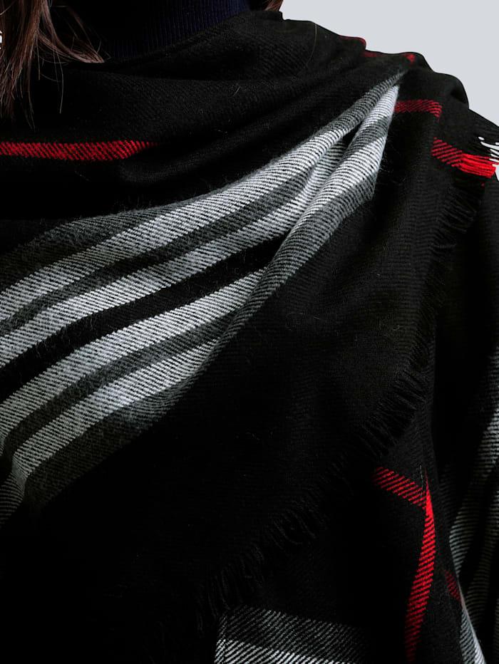 Fraas Ruutukuosinen poncho, musta/valkoinen/punainen