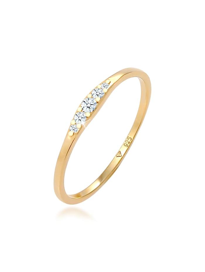 DIAMORE Ring Verlobungsring Diamant (0.07 Ct) Bridal 925 Silber, Gold