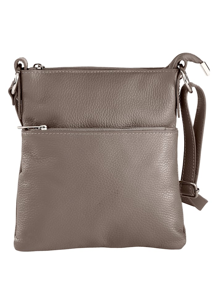 Aimée Shoulder bag made from premium leather, Grey