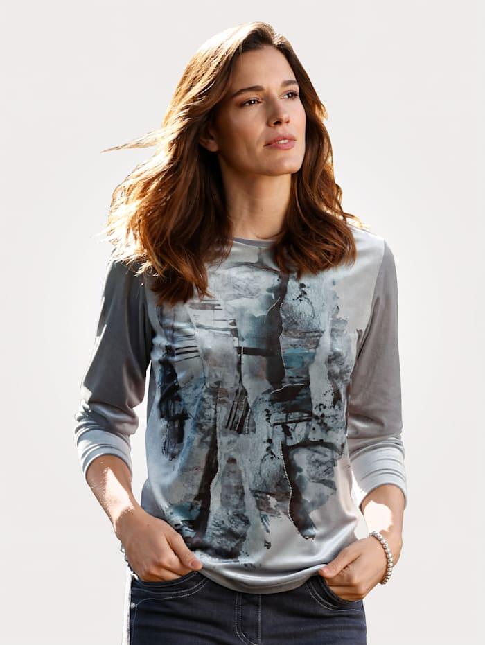 MONA T-shirt en velours à imprimé placé, Gris/Pétrole