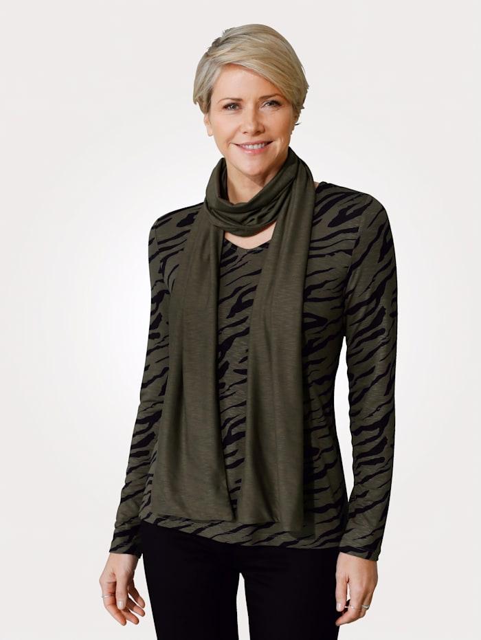 MONA Shirt mit Schal, Khaki/Schwarz